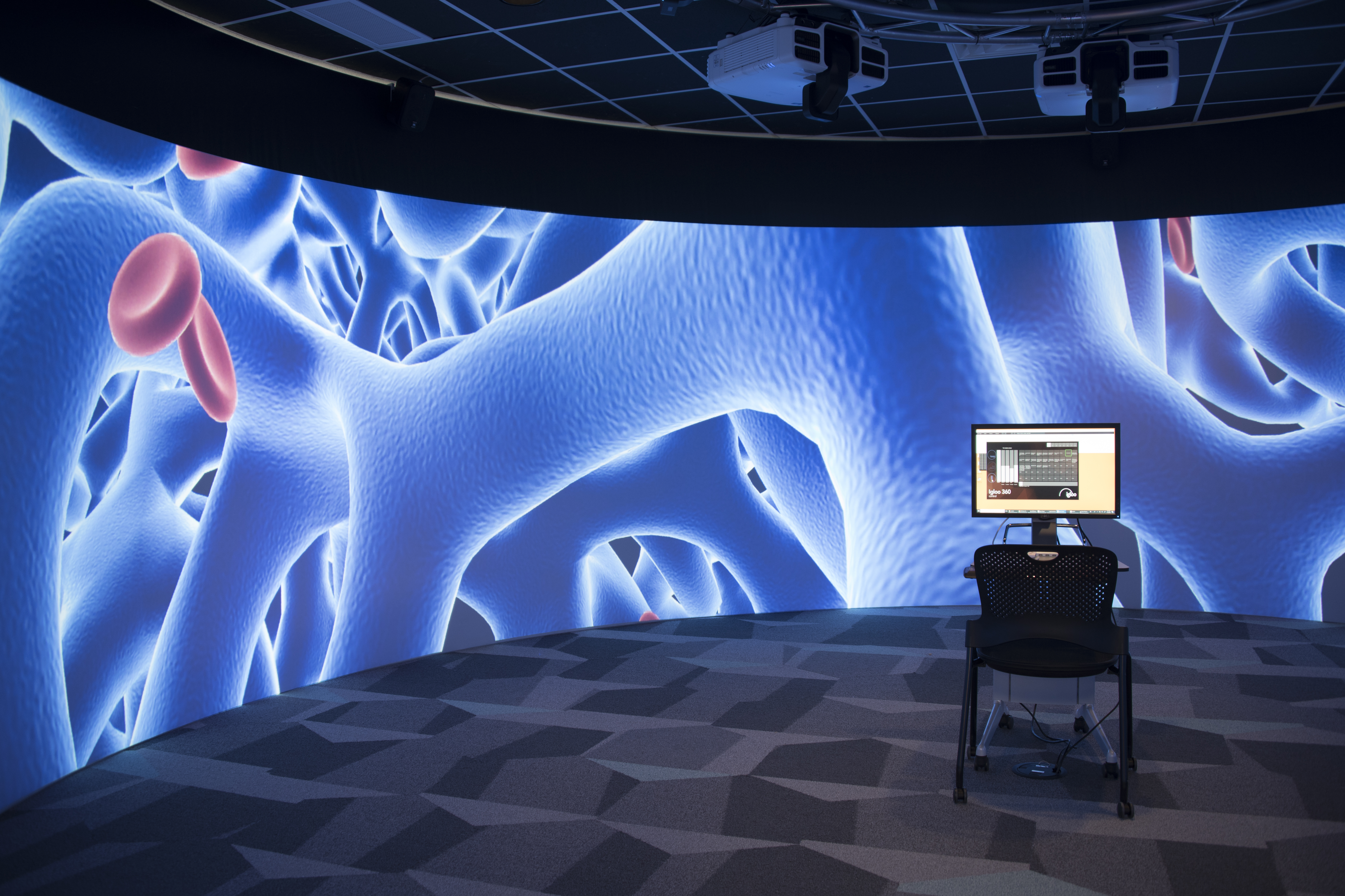 Image of the interior of the 360 degree visualization cylinder in the Digital Scholarship Lab, showing a large-scale visualization and the computer setup in the middle of the room.